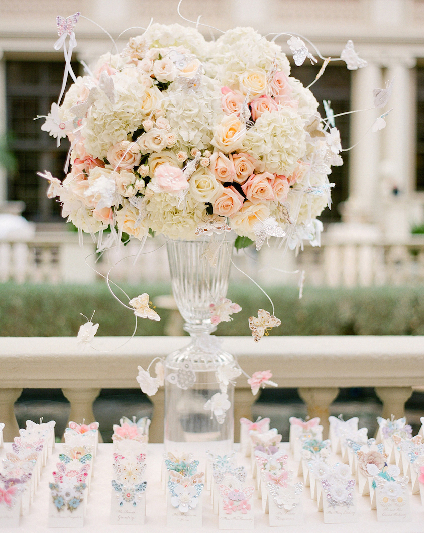 Butterfly escort card table