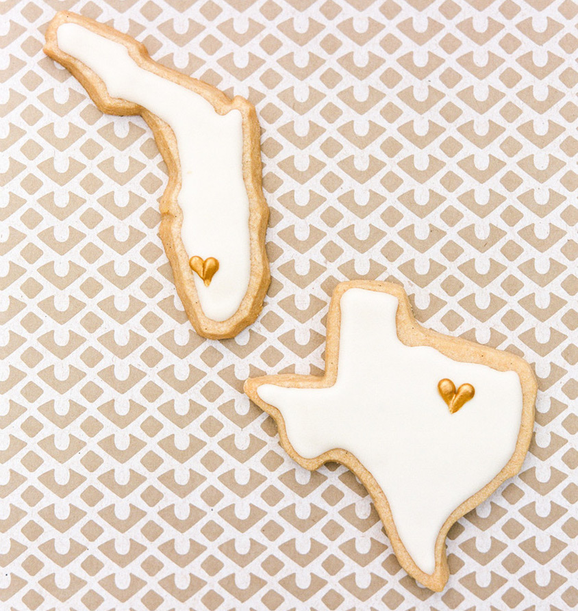 Florida and Texas wedding favor cookies