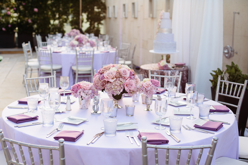Lavender light purple wedding table