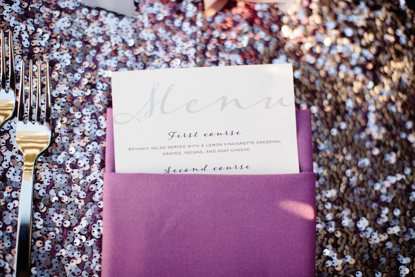 Purple sequin tablecloth and menu