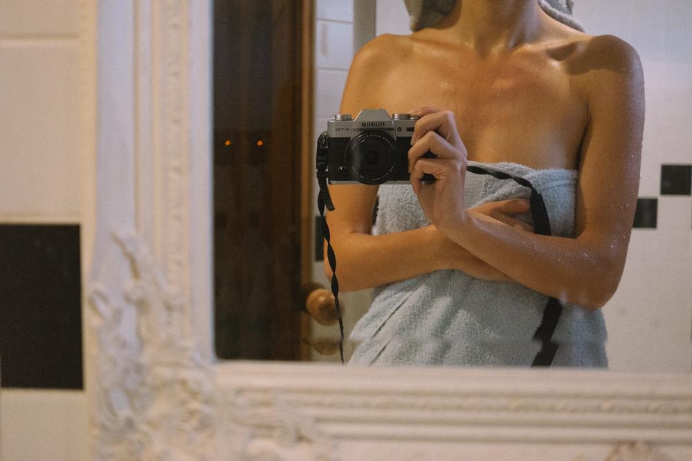 bride in towel