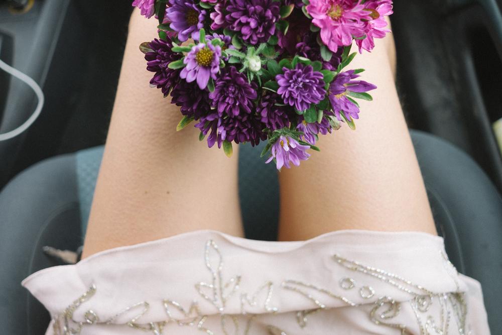 flowers in lap