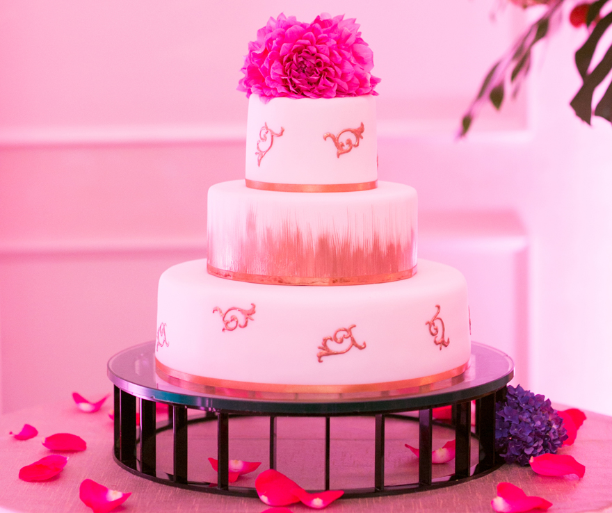 pink painted cake