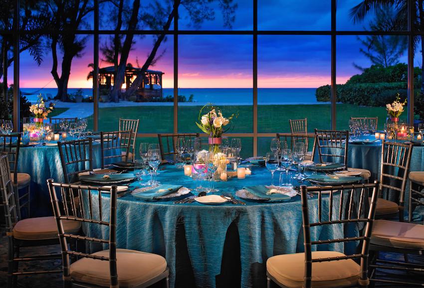 Sunset wedding in Governor's Ballroom at Westin Grand Cayman