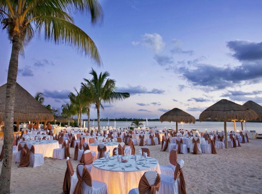 The Westin Cancun lagoon sunset wedding