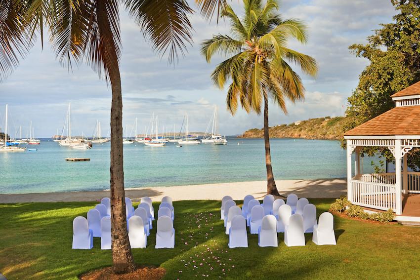 The Westin St. John gazebo lawn wedding ceremony