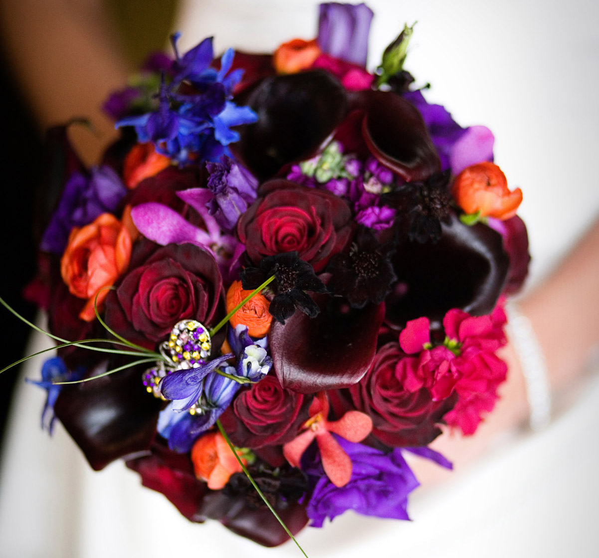 purple bouquet with jewel