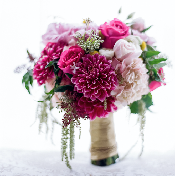 Pink fall flower wedding bouquet The Hidden Garden