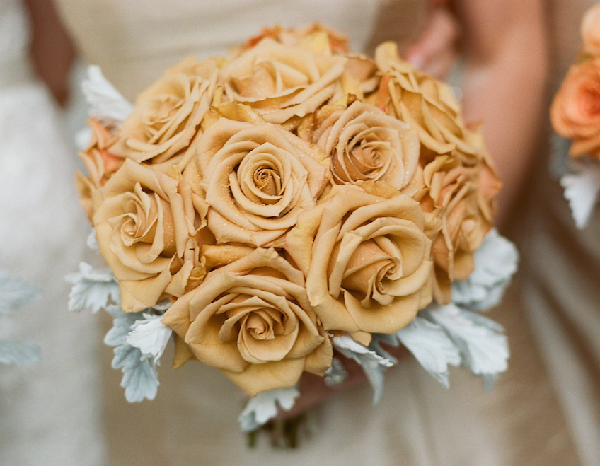 Fall flower bouquet for wedding with tan roses