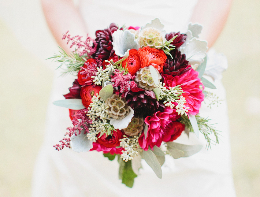 Bright fall flower bouquet for bride at wedding