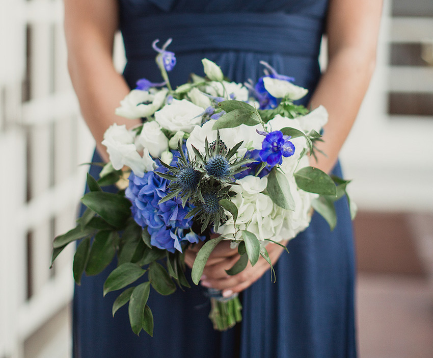 Blue and white fall flower bridesmaid bouquet