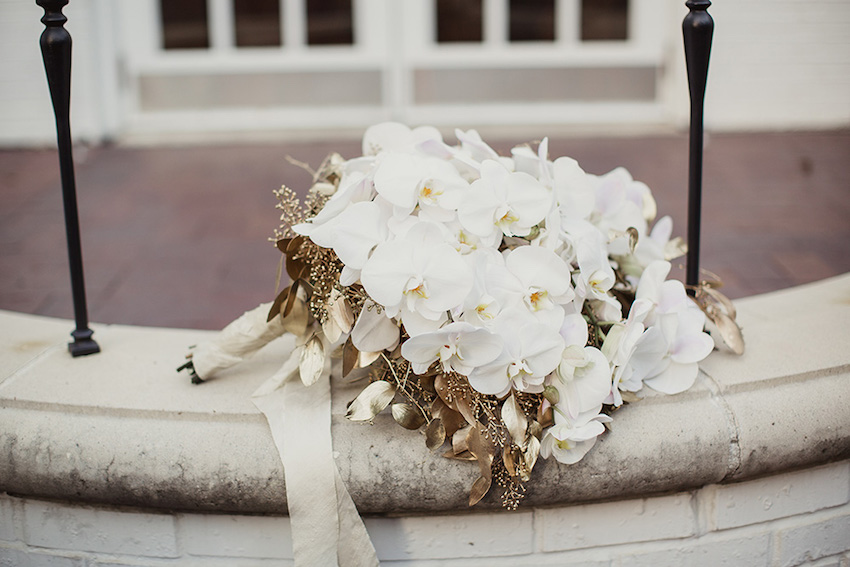 White orchid bouquet with gold leaves fall flower