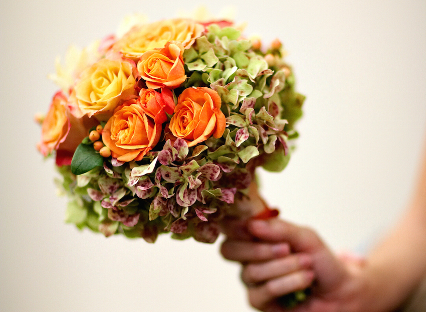 Orange fall flower bouquet for bridesmaids