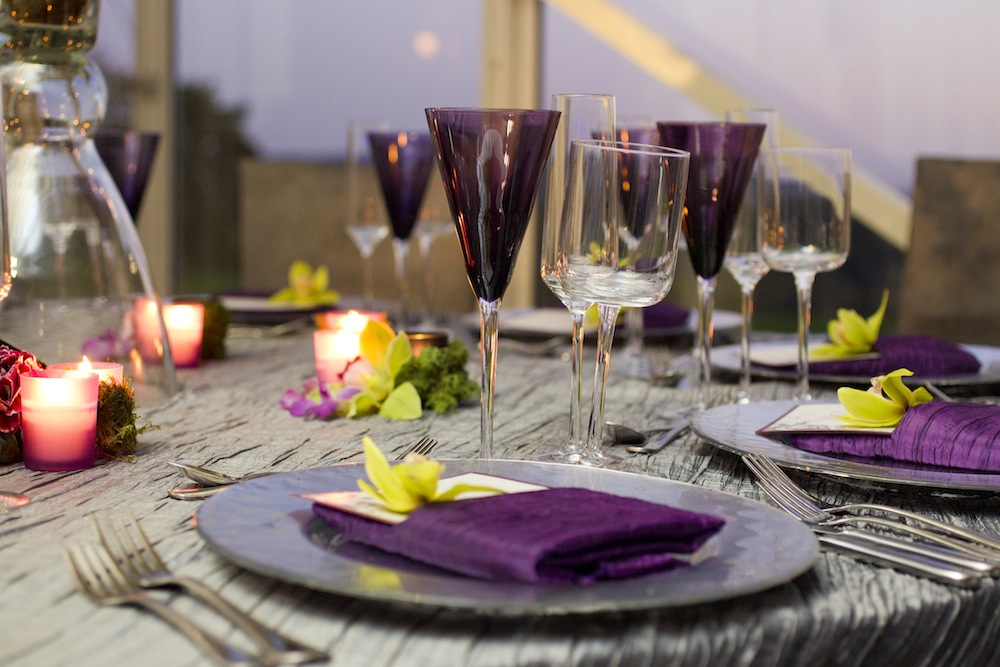 Purple napkins at wedding reception