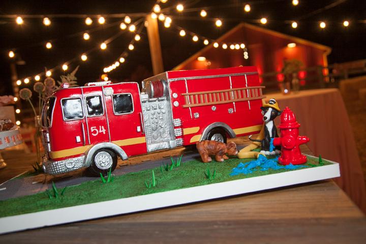 fire truck dogs cake
