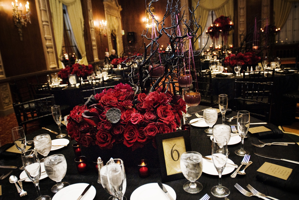 roses and branches centerpiece