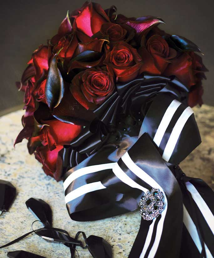 black ribbon bouquet