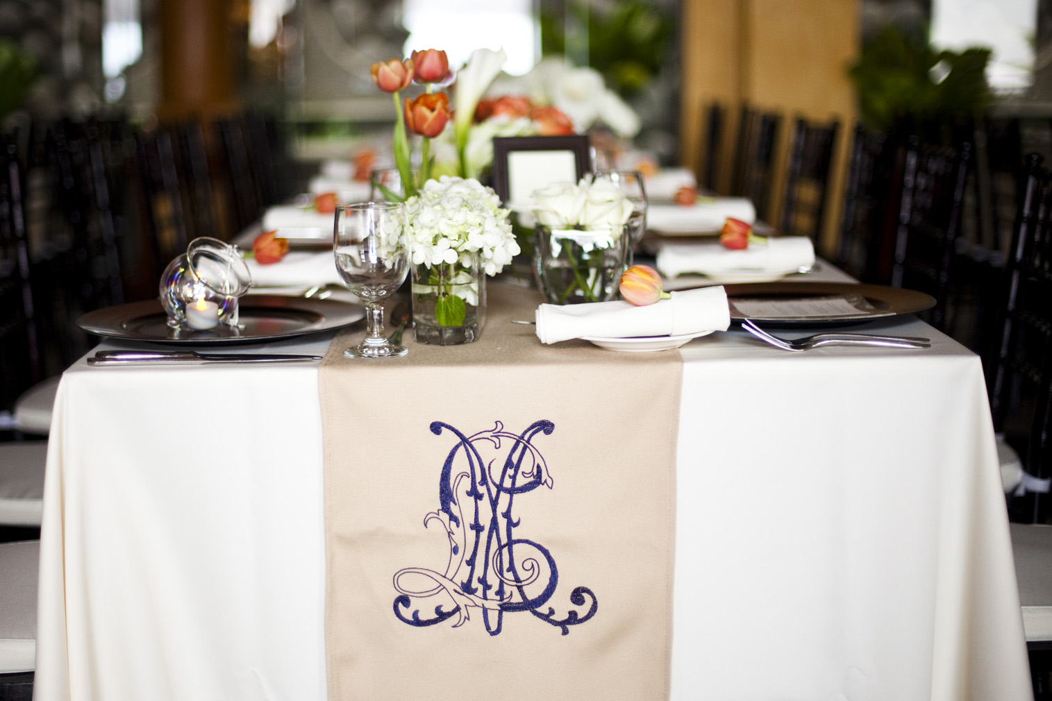 monogram table runner