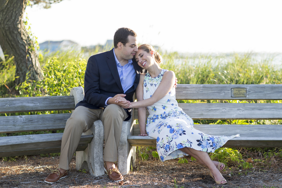Engagement Session on Park Bench