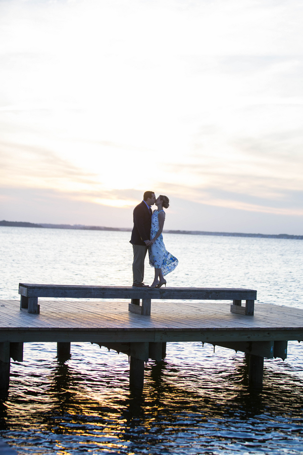 Sunset engagement session on pier