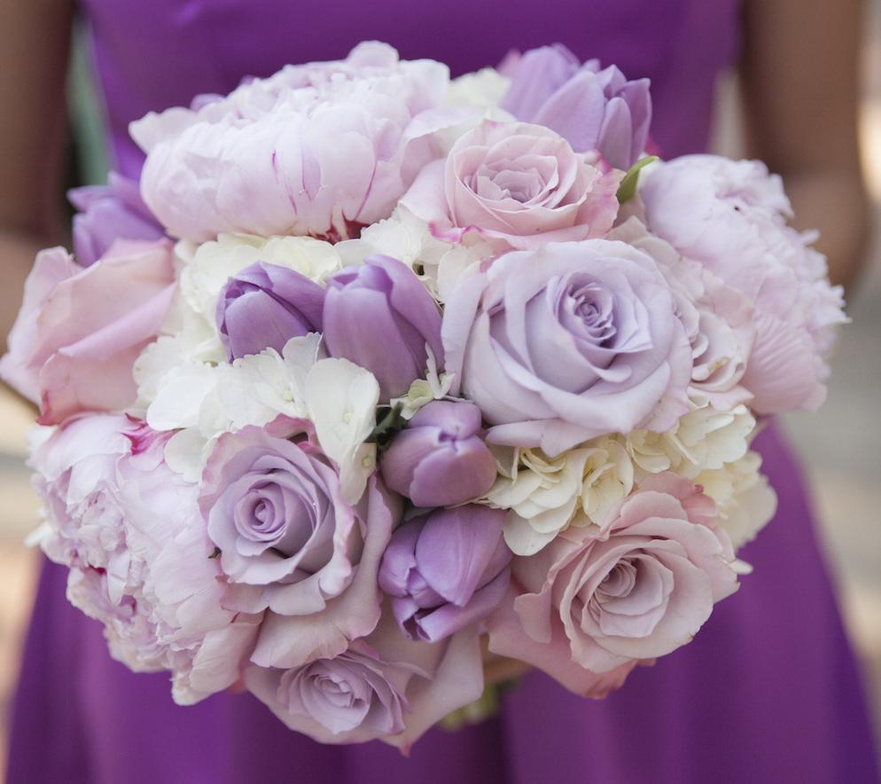 Light purple tulip wedding bouquet