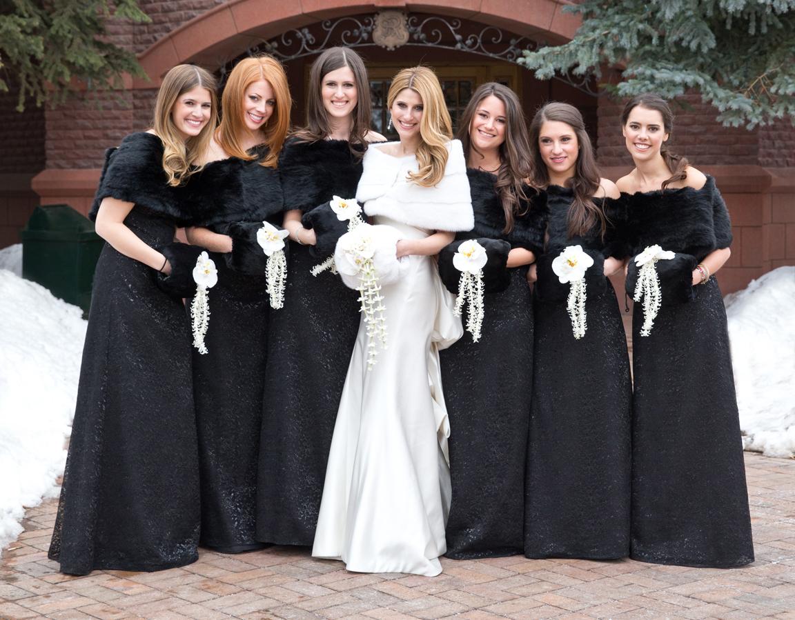 black fur bridesmaid dresses