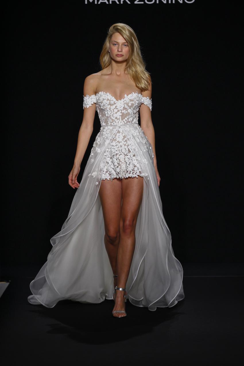mark zunino high low wedding dress