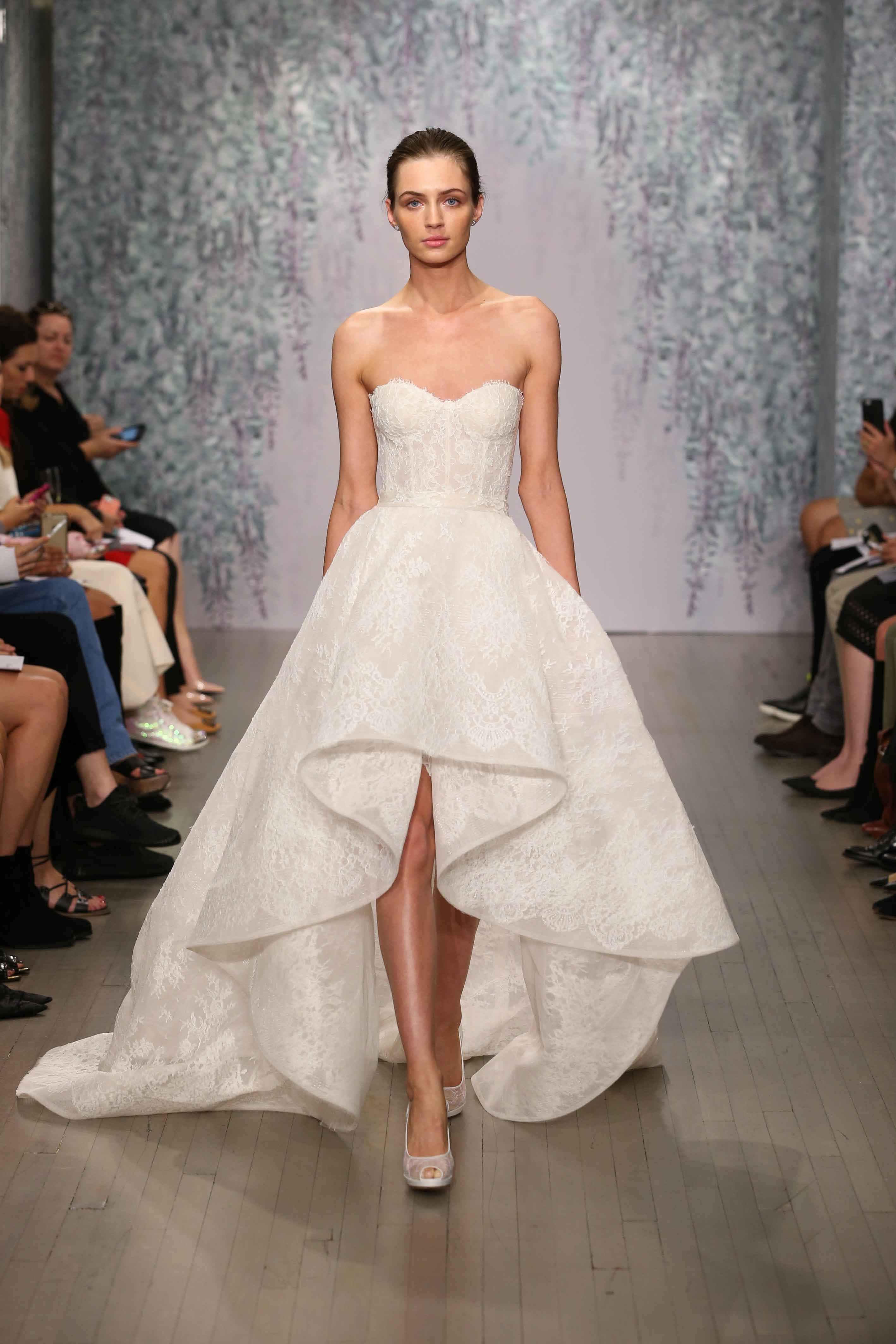 monique lhuillier high low wedding dress