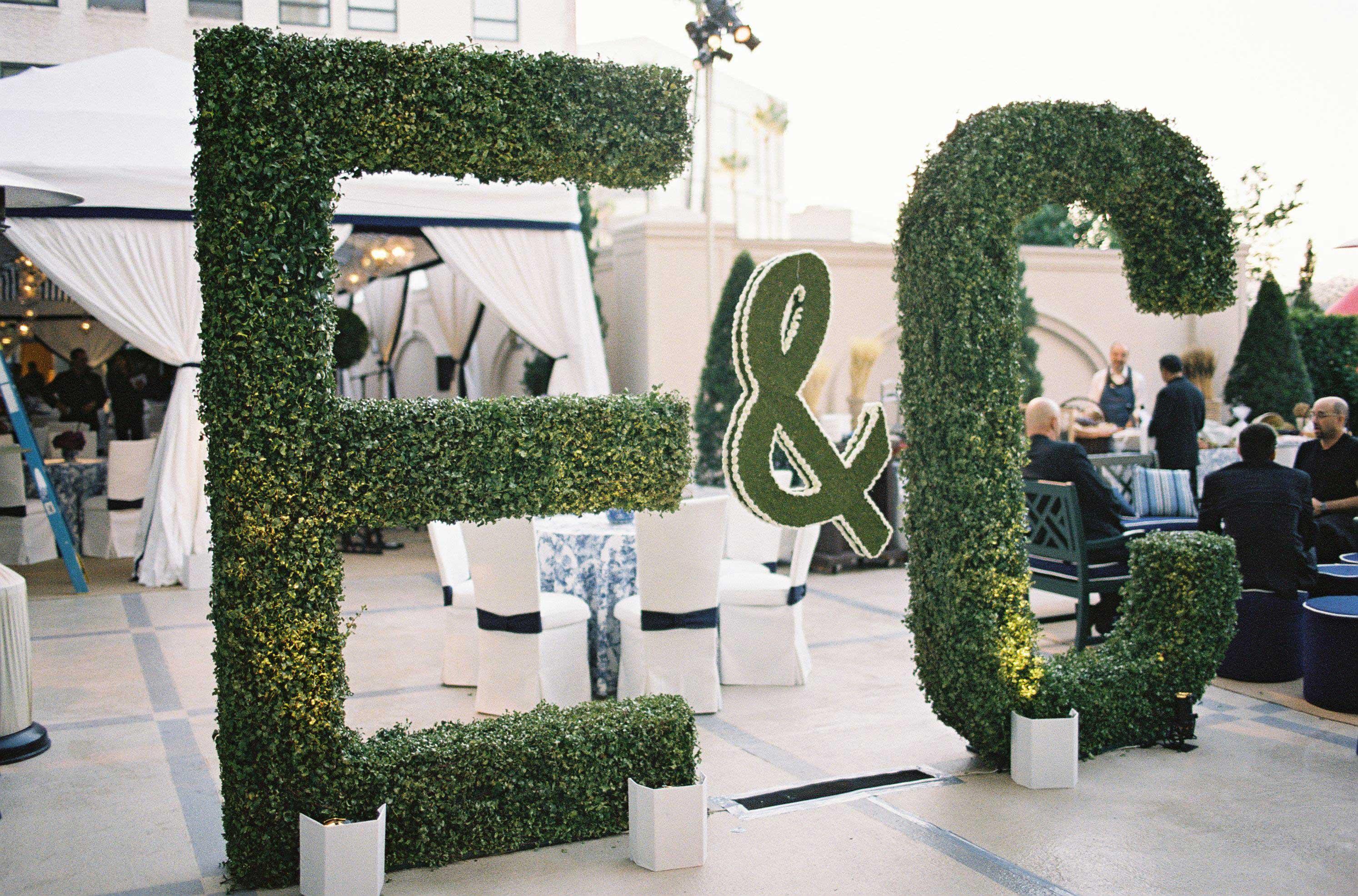 Initial large hedge wedding decorations