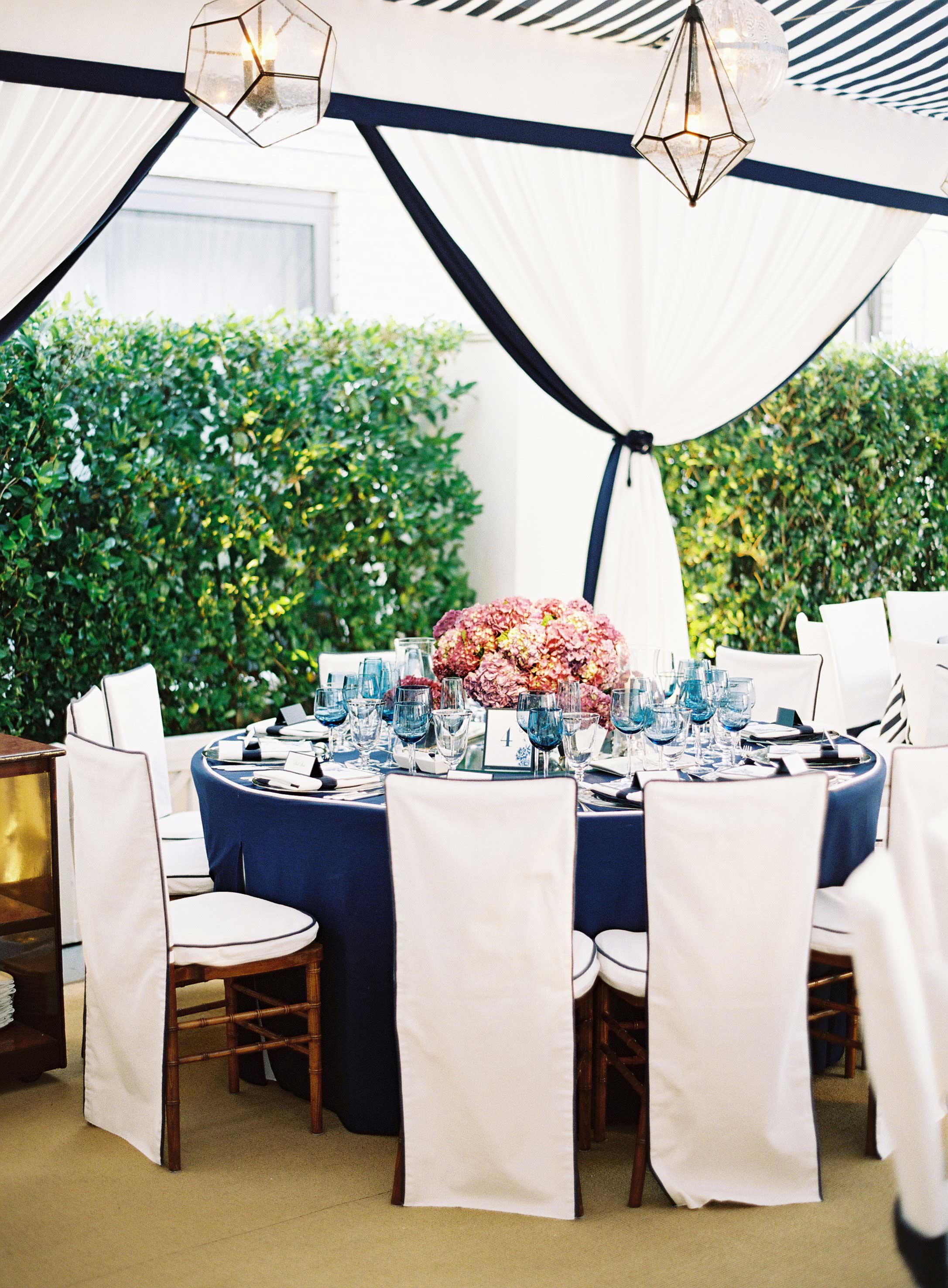Hedge blocking building at rehearsal dinner