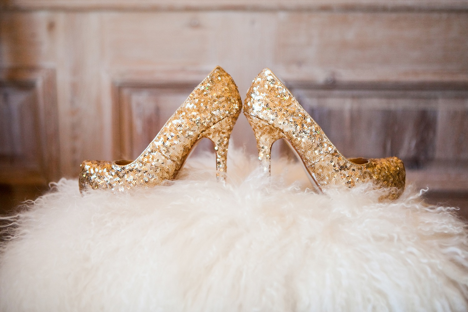 Gold sequin wedding heels