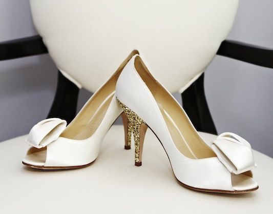 Kate Spade wedding shoes with gold heel