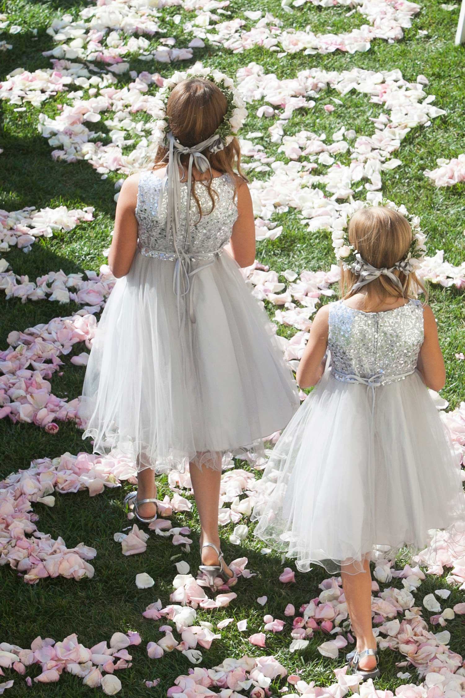 Flower girls in silver sequin dresses