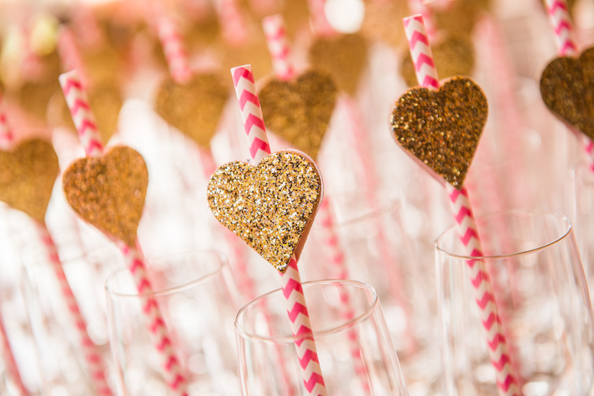 Glitter heart shaped straw decals