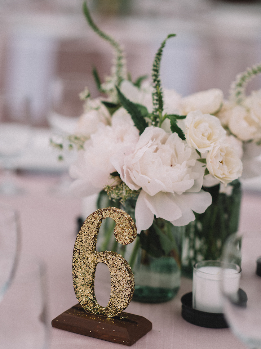 Gold glitter standing table number