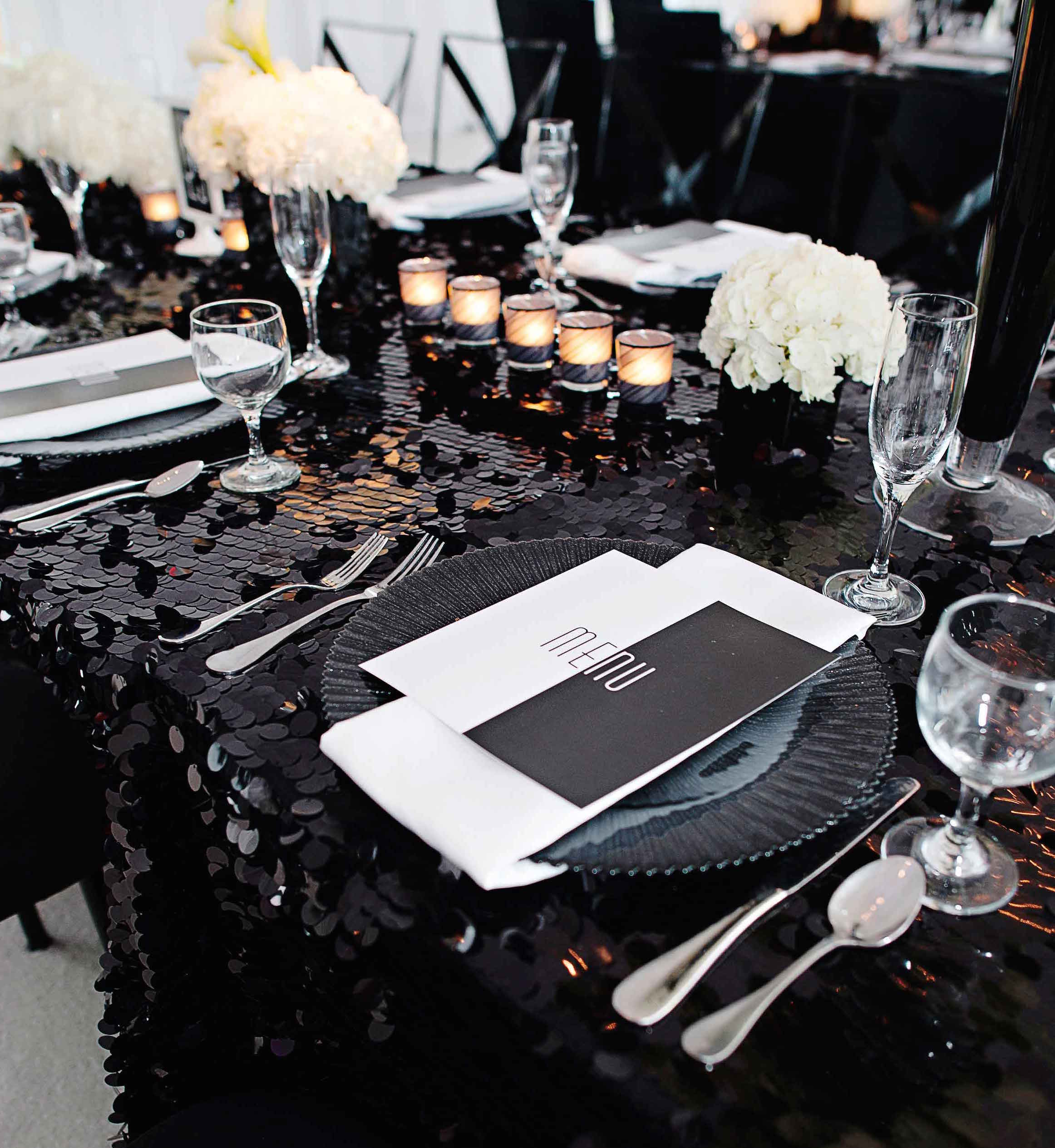 Black sequin wedding tablecloth