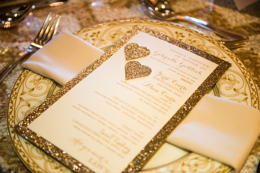 Gold glitter heart bridal shower menu