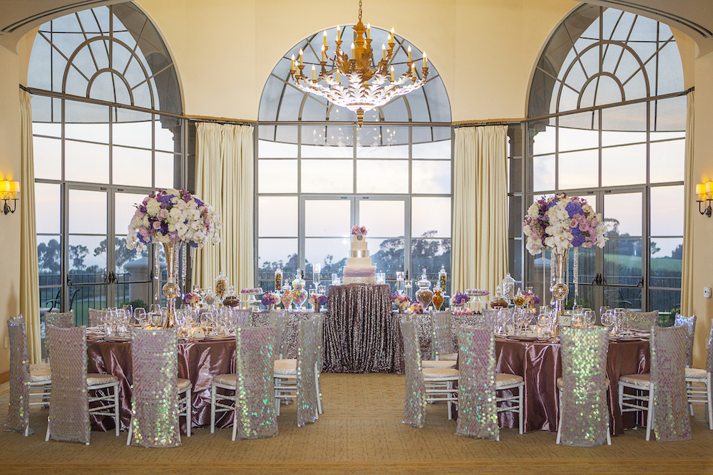 Purple sequin reception and chair covers