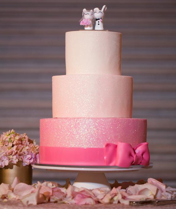 Pink glitter ombre wedding cake