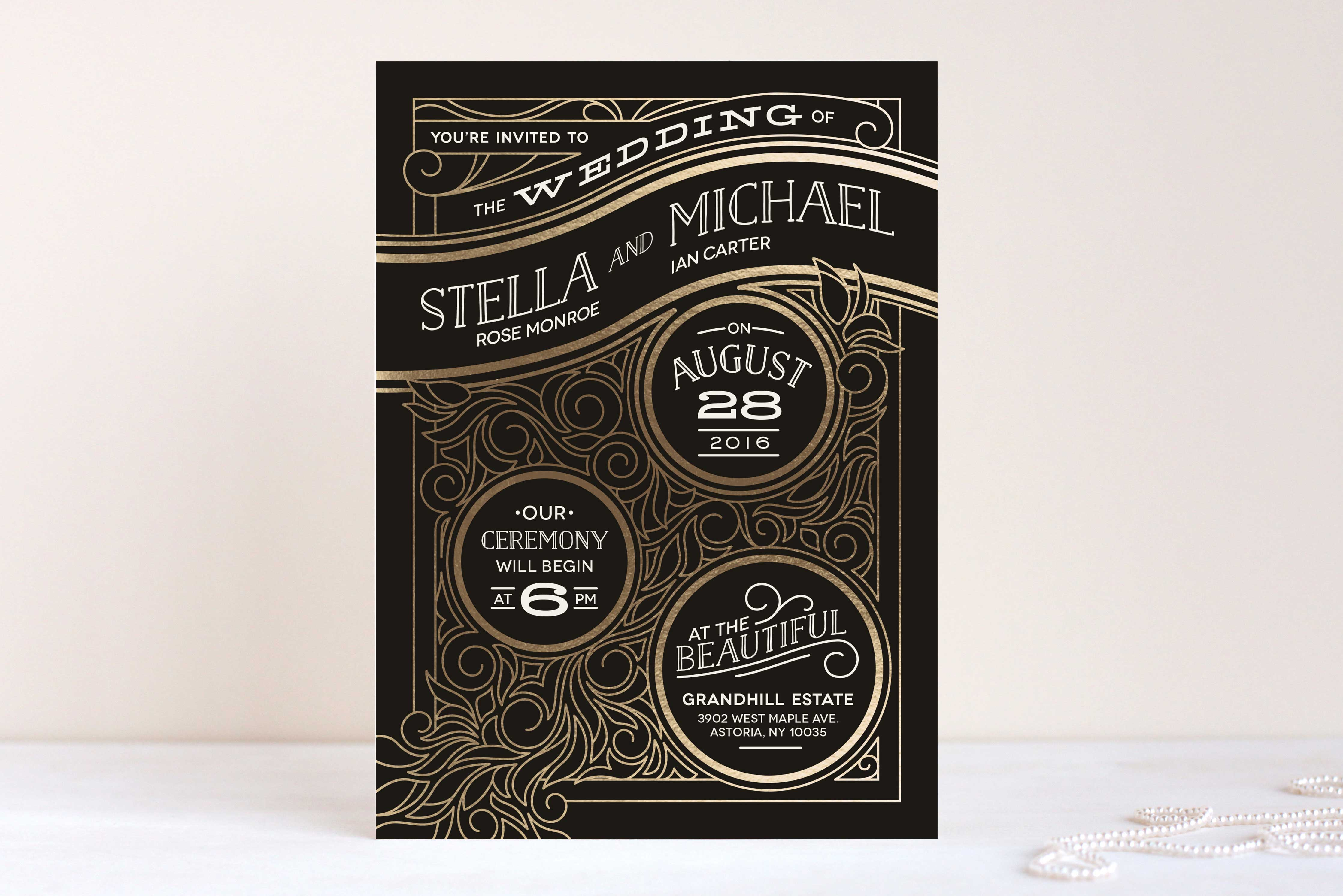 Minted black and gold winter wedding invitation