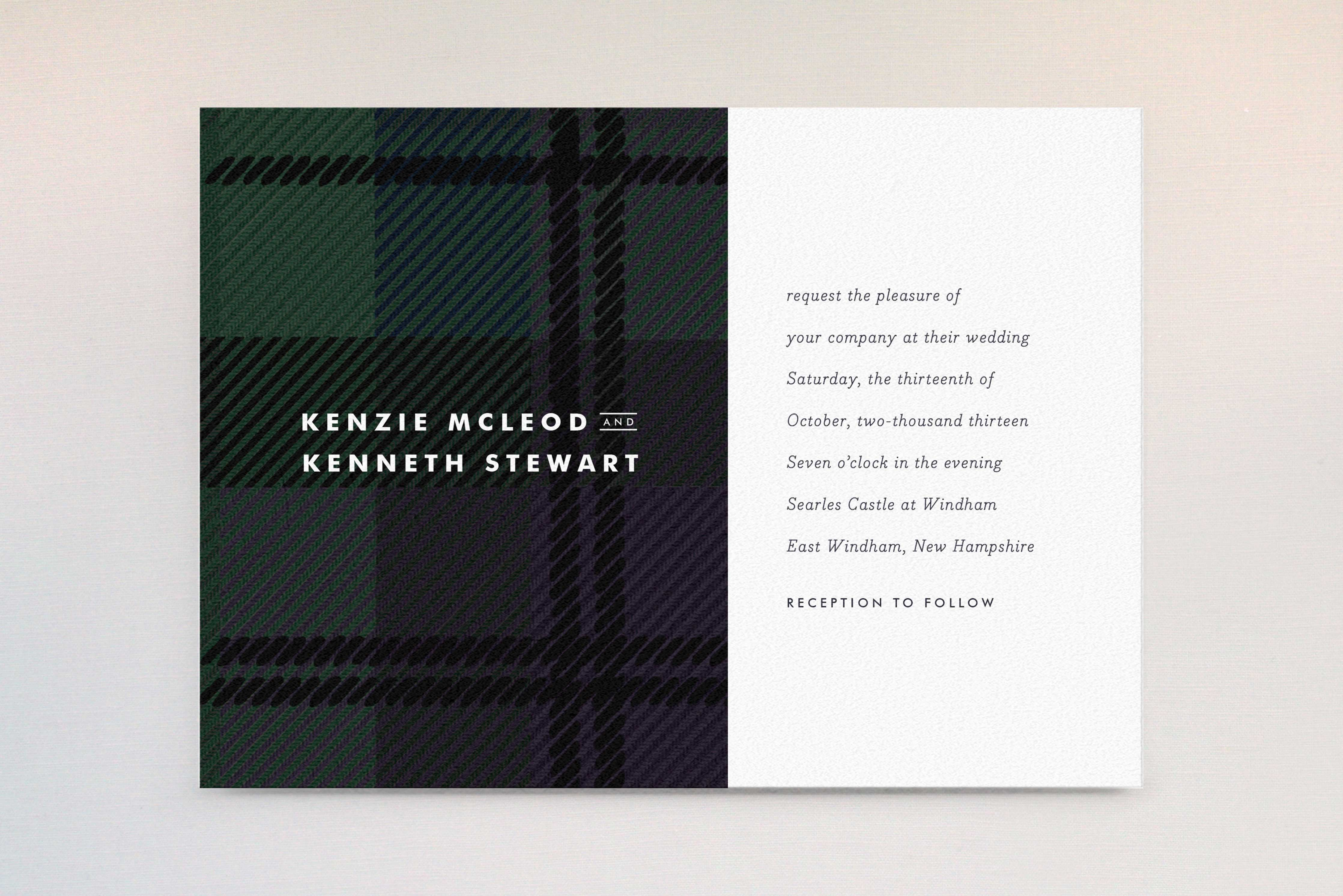 Minted green plaid winter wedding invitation