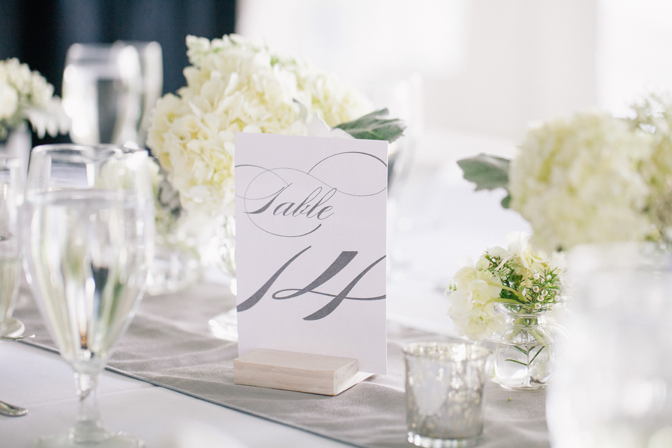 white and gray table number