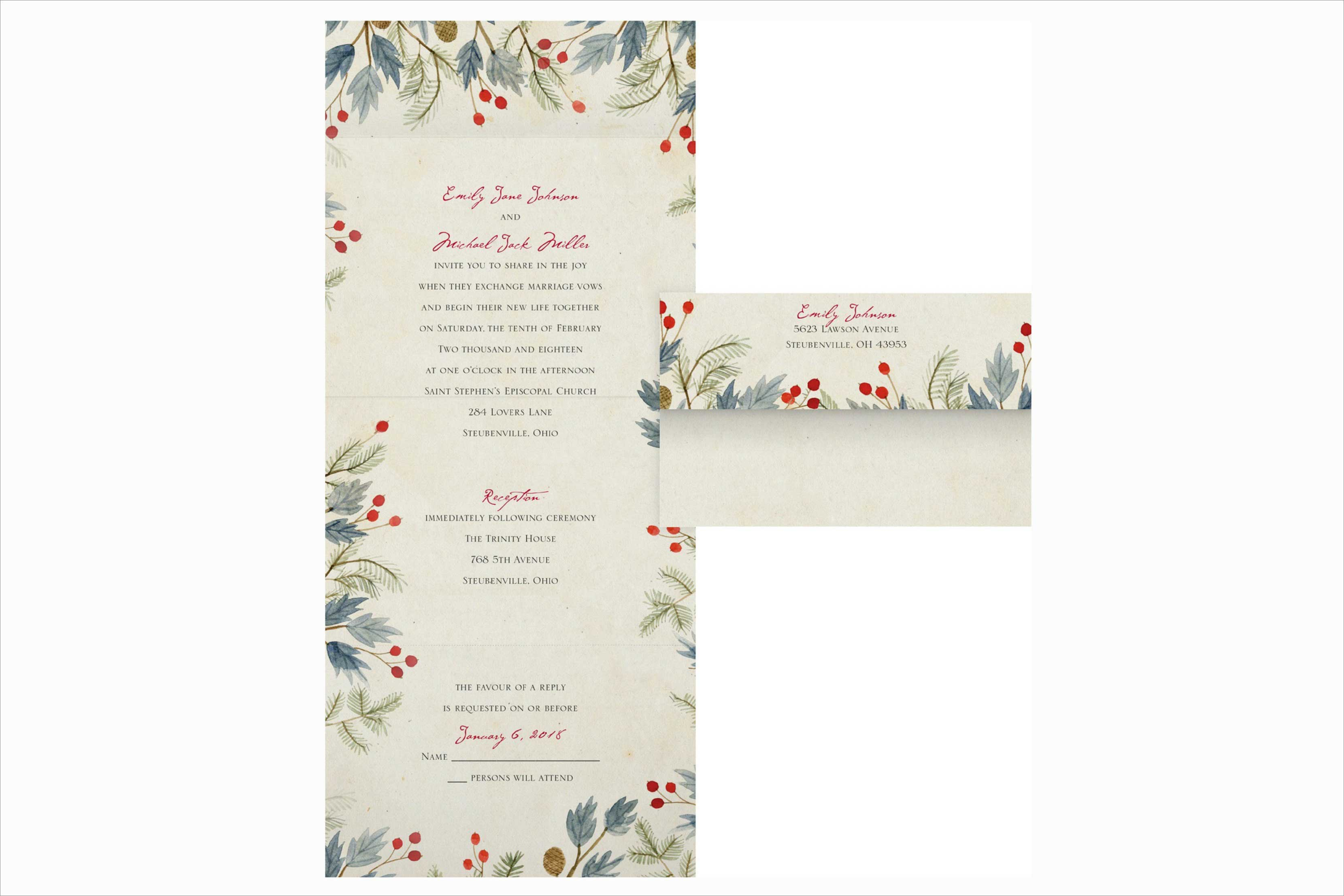 Carlson Craft Lovely Winter wedding invitation
