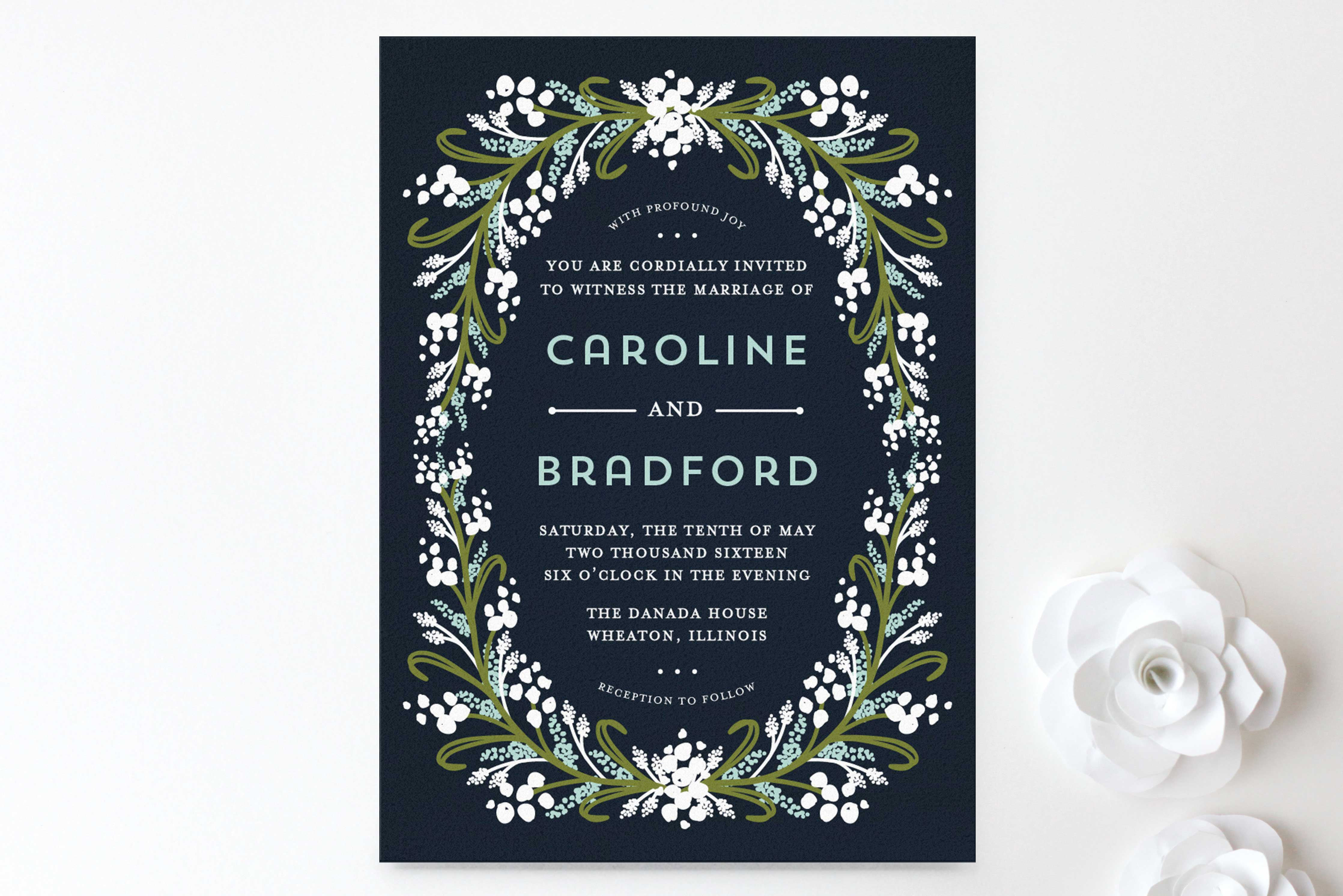 Minted midnight floral winter wedding invitation