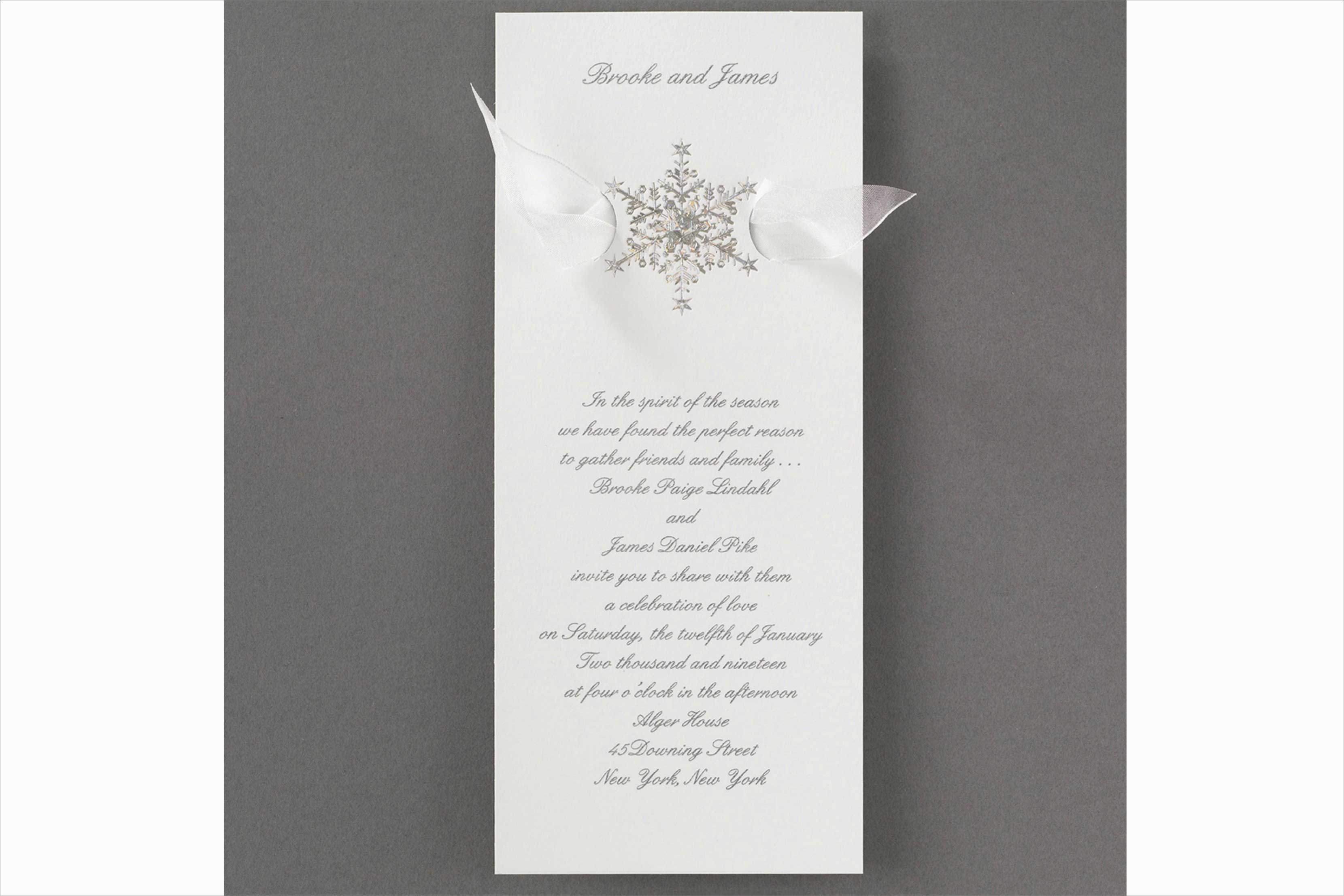 Carlson Craft Shimmering Snowflake winter wedding invitation