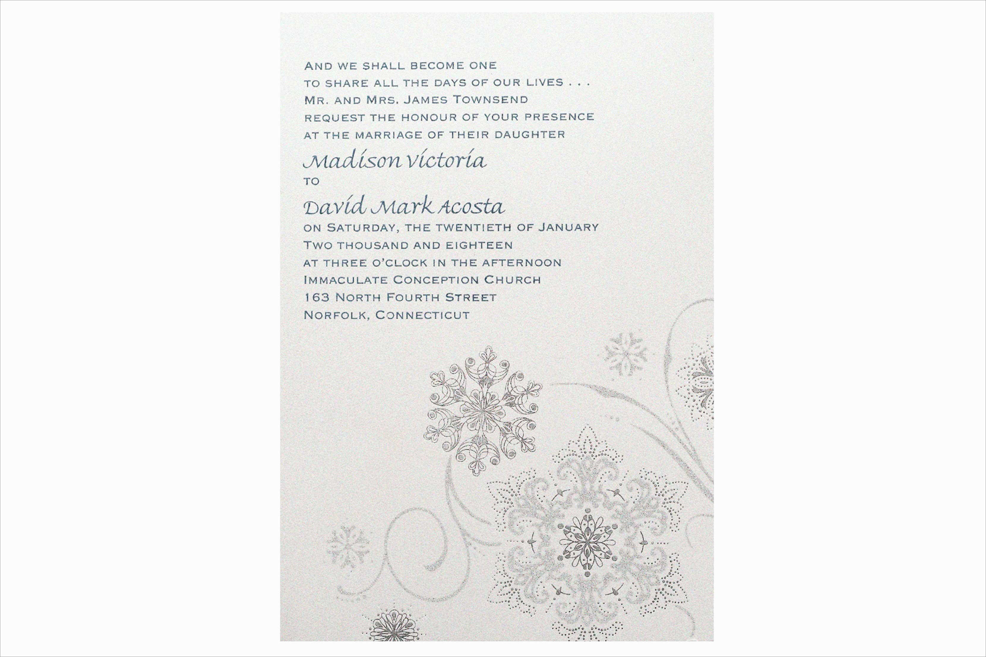 Carlson Craft Snowflake Fantasy winter wedding invitation