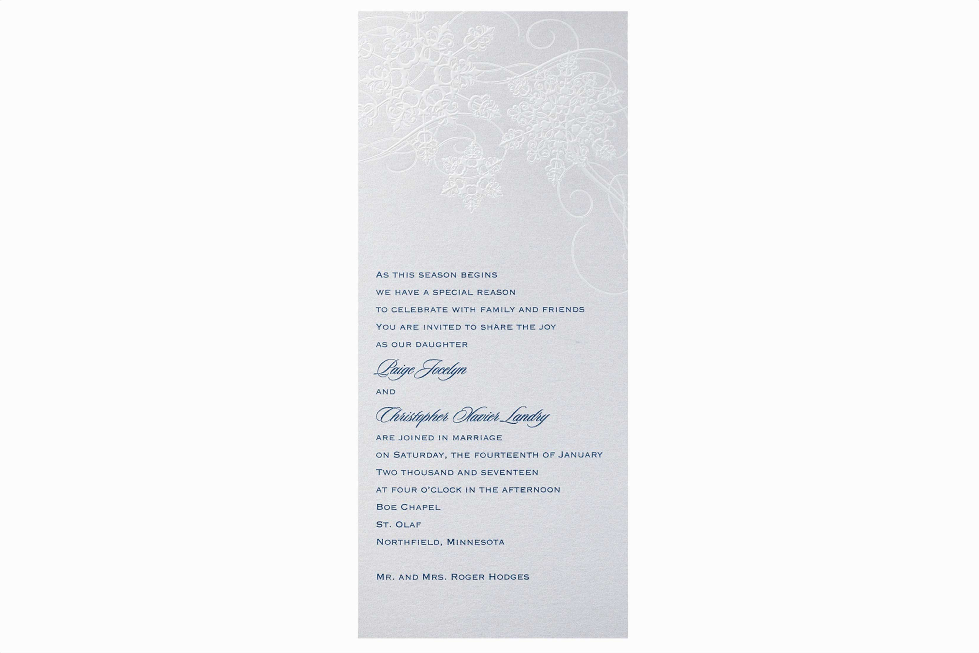 Carlson Craft Spinning Snowfall winter wedding invitation