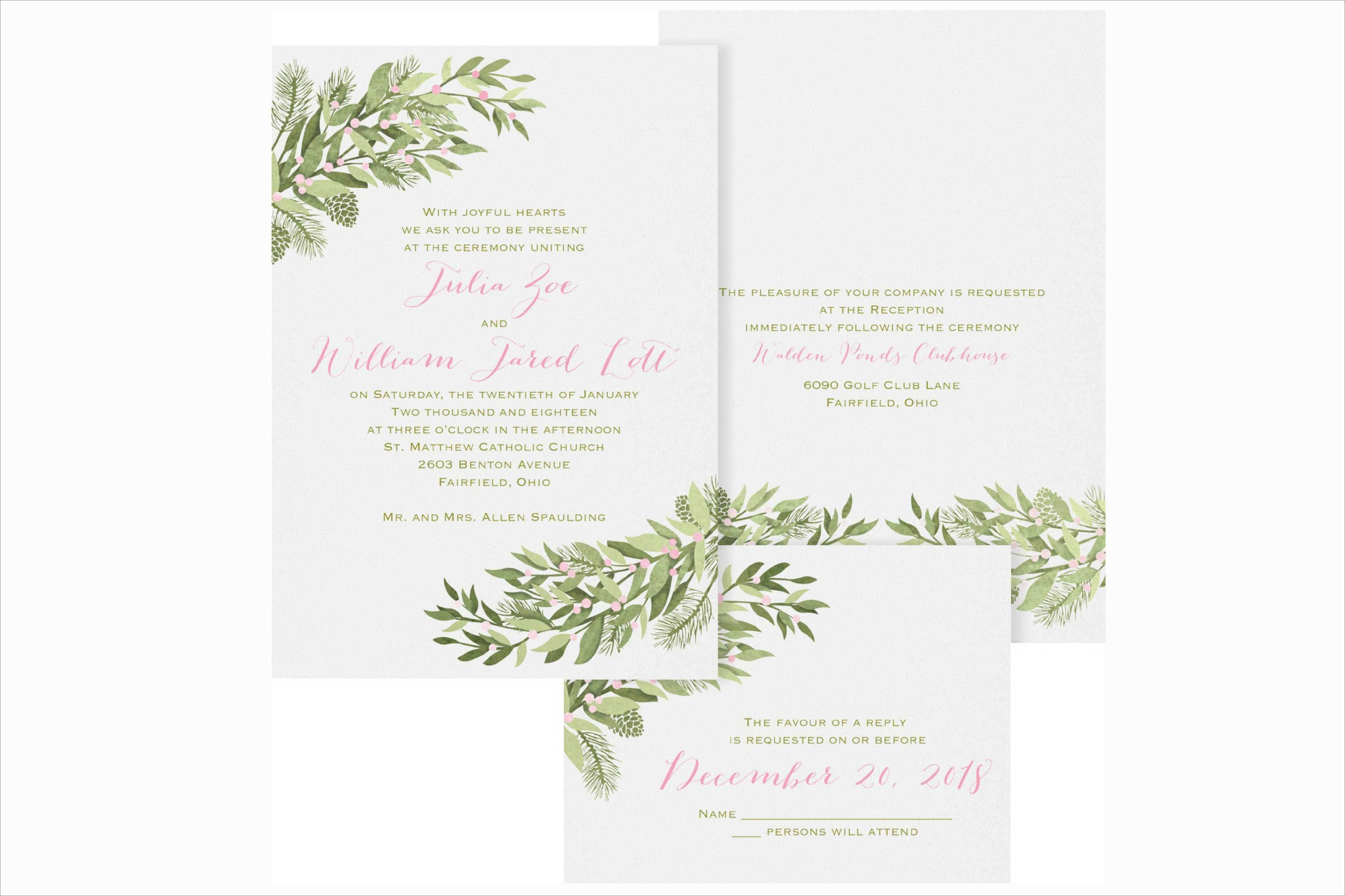 Carlson Craft Winter Berries winter wedding invitation