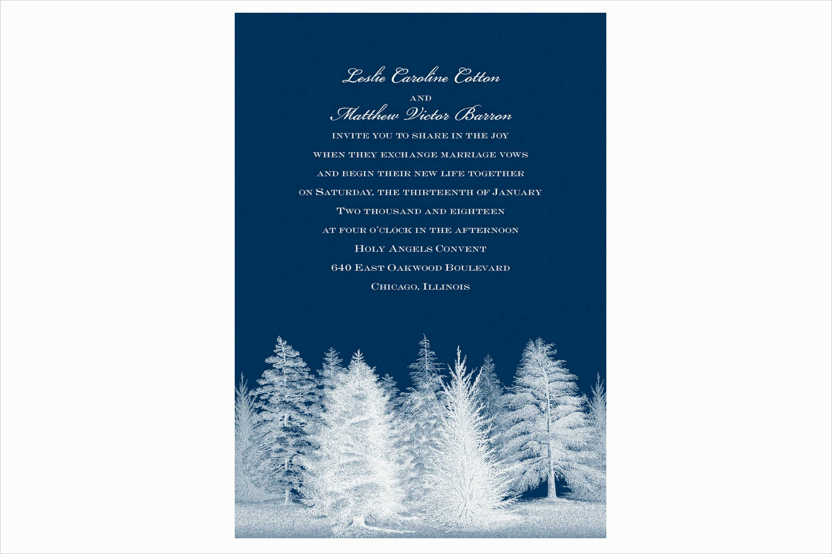 Carlson Craft Winter Romance wedding invitation