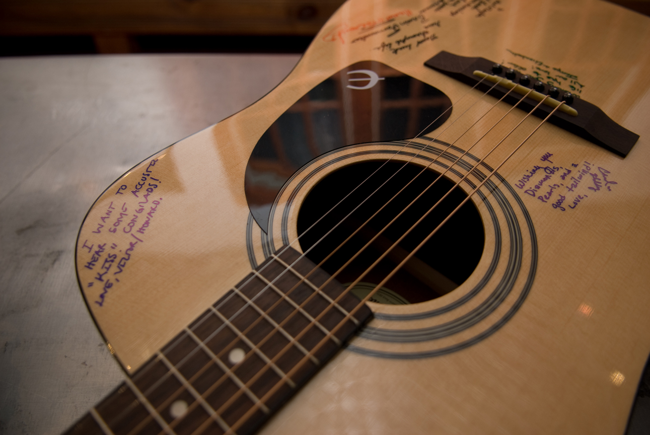 signed guitar guest book